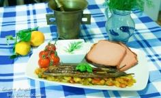 Leberkase mediteranian pe pat de legume cu vinete coapte
