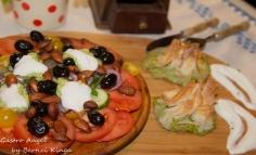 Boccea cu feta și spanac cu un soi de salată grecească